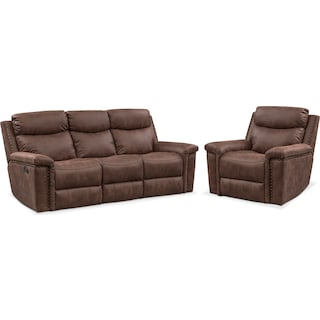 Montana Dual Manual Reclining Sofa and Recliner Set