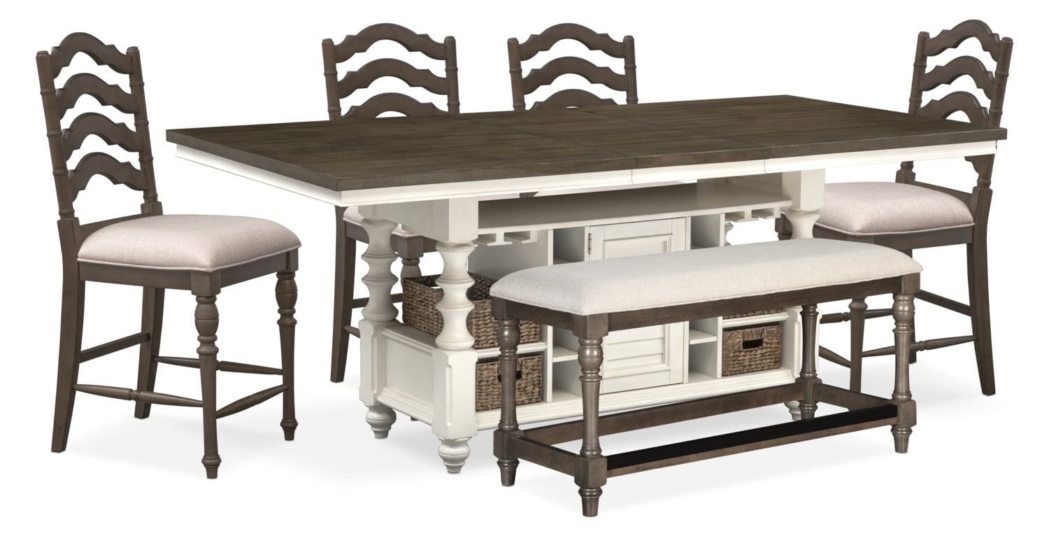 Dining Room Furniture - Charleston Counter-Height Dining Table, 4 Stools and Bench