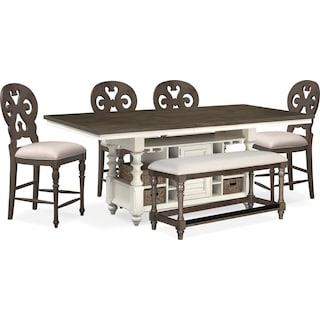 Charleston Counter-Height Kitchen Island, 4 Scroll-Back Stools and Bench