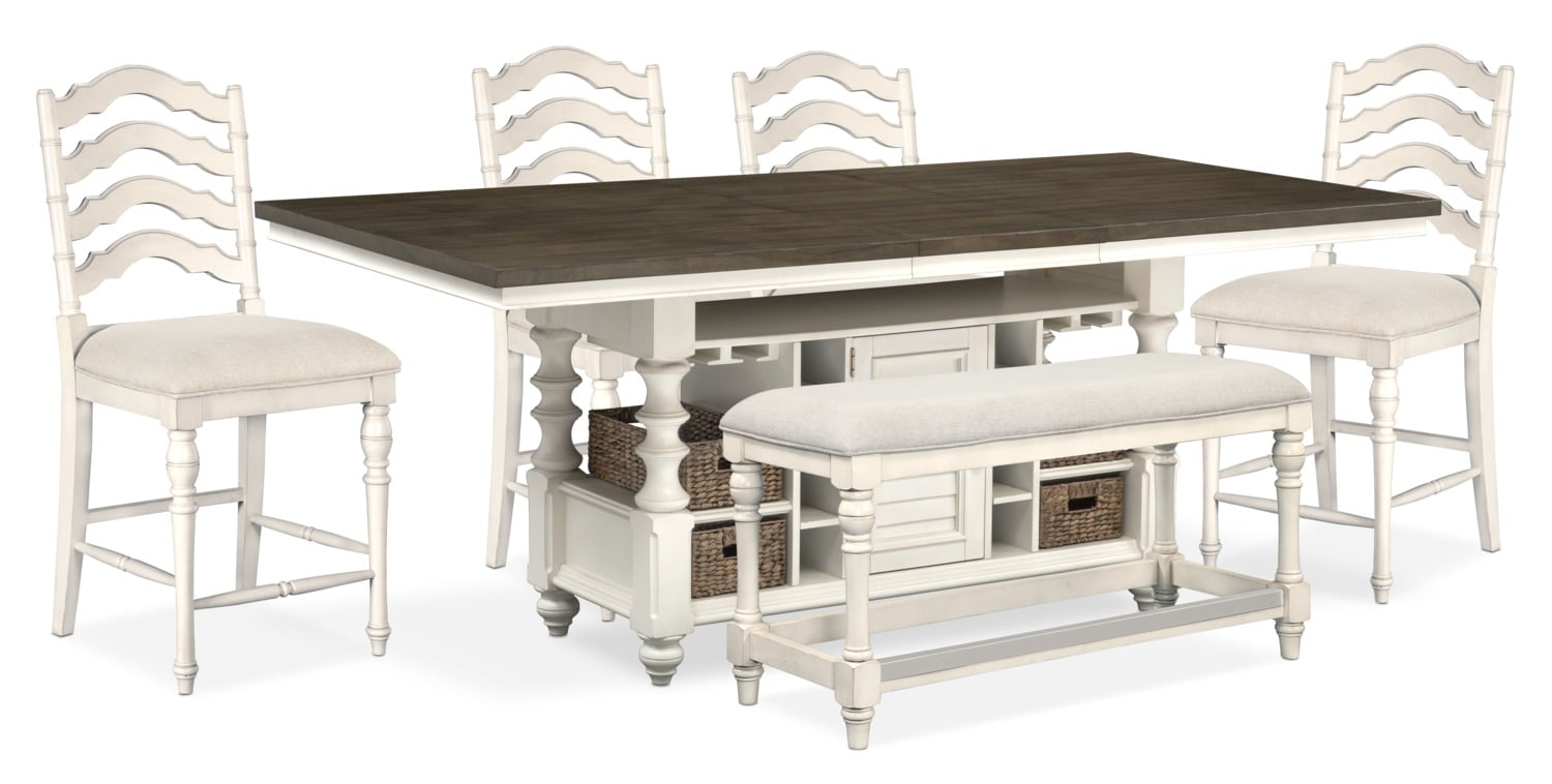 Charleston Counter-Height Kitchen Island, 4 Stools and Bench