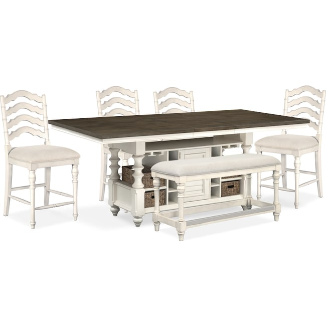 Charleston Counter Height Dining Table 4 Stools And Bench