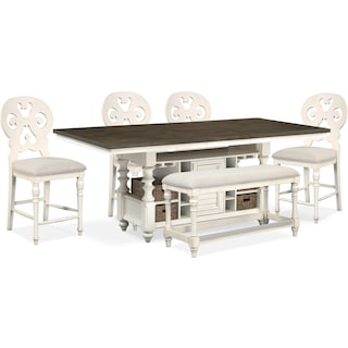 Charleston Counter-Height Kitchen Island, 4 Scroll-Back Stools and Bench - White