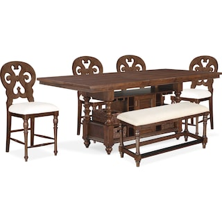 Charleston Counter-Height Dining Table, 4 Scroll-Back Stools and Bench - Tobacco