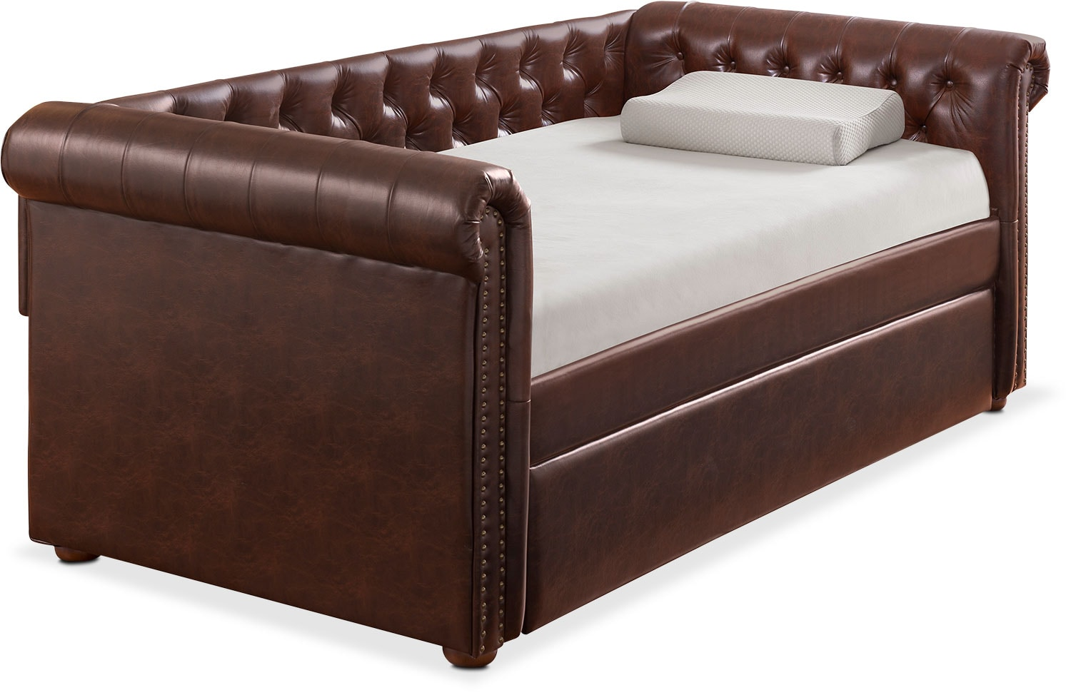 Kids Furniture   Shelton Twin Upholstered Daybed With Trundle   Brown