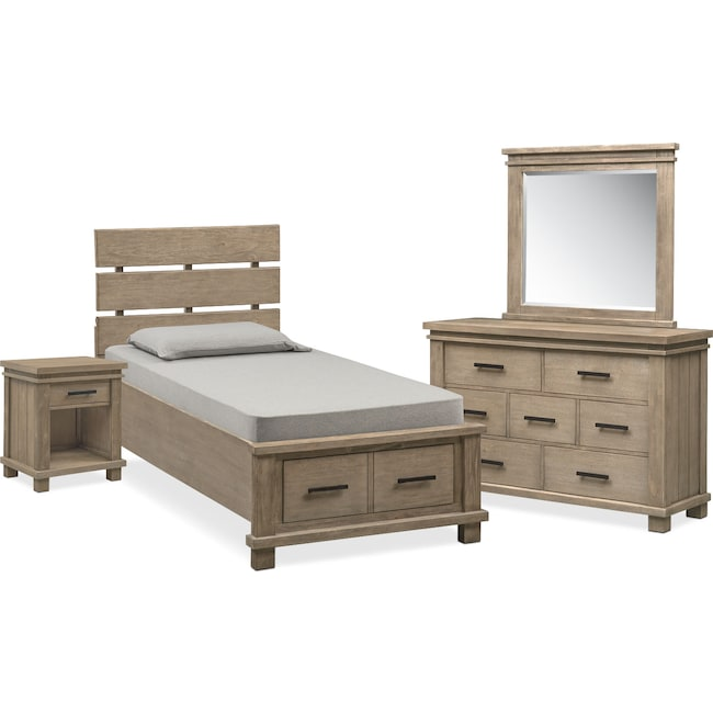 Kids Furniture - Tribeca Youth 6-Piece Full Plank Bedroom Set with 2 Underbed Drawers - Gray