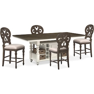 Charleston Counter-Height Kitchen Island and 4 Scroll-Back Stools