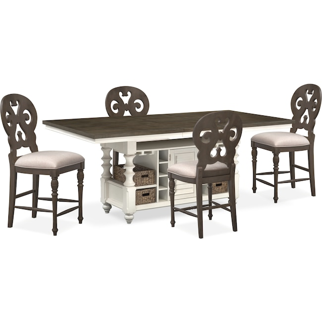 Dining Room Furniture - Charleston Counter-Height Dining Table and 4 Scroll-Back Stools