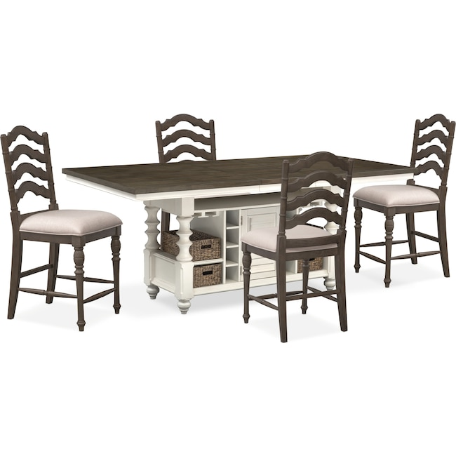 Dining Room Furniture - Charleston Counter-Height Kitchen Island and 4 Stools