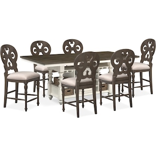 Charleston Counter-Height Kitchen Island and 6 Scroll-Back Stools - Gray and White