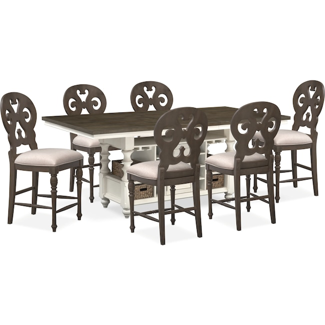 Dining Room Furniture - Charleston Counter-Height Kitchen Island and 6 Scroll-Back Stools