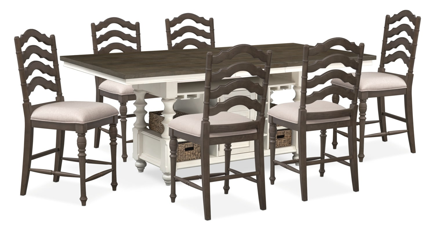 Dining Room Furniture - Charleston Counter-Height Kitchen Island and 6 Stools