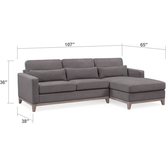 Living Room Furniture - Crosby 2-Piece Sectional with Right-Facing Chaise and Storage Ottoman Set - Gray
