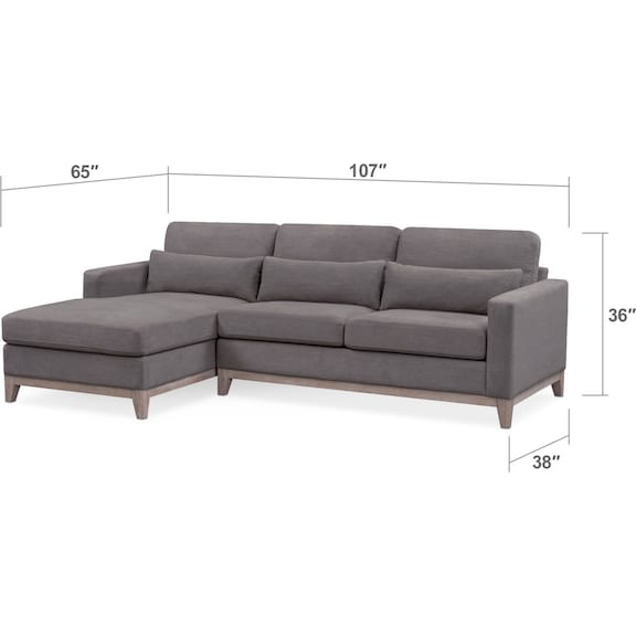 Living Room Furniture - Crosby 2-Piece Sectional with Chaise