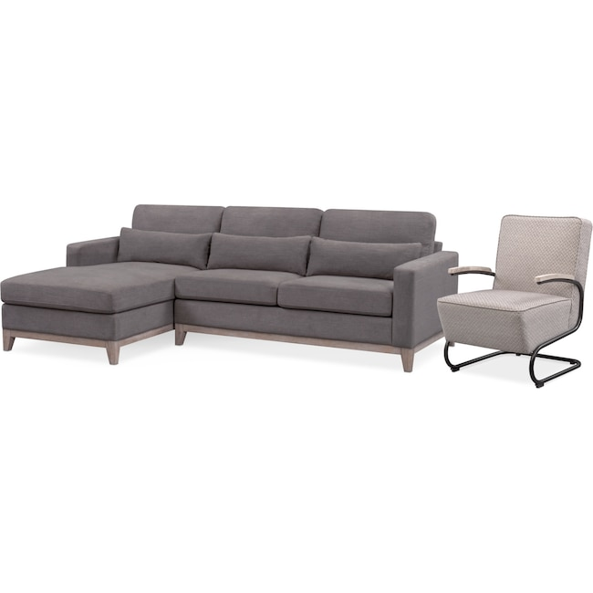 Living Room Furniture - Crosby 2-Piece Sectional with Chaise and Accent Chair Set