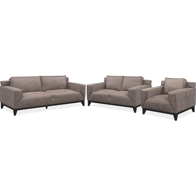 Living Room Furniture - Wynn Sofa, Loveseat and Chair Set - Taupe