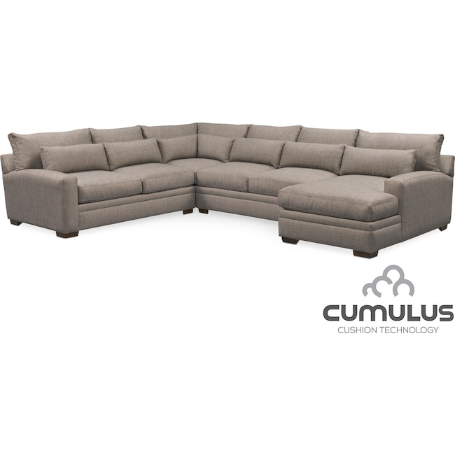 Winston Cumulus 4-Piece Sectional with Right-Facing Chaise - Gray ...