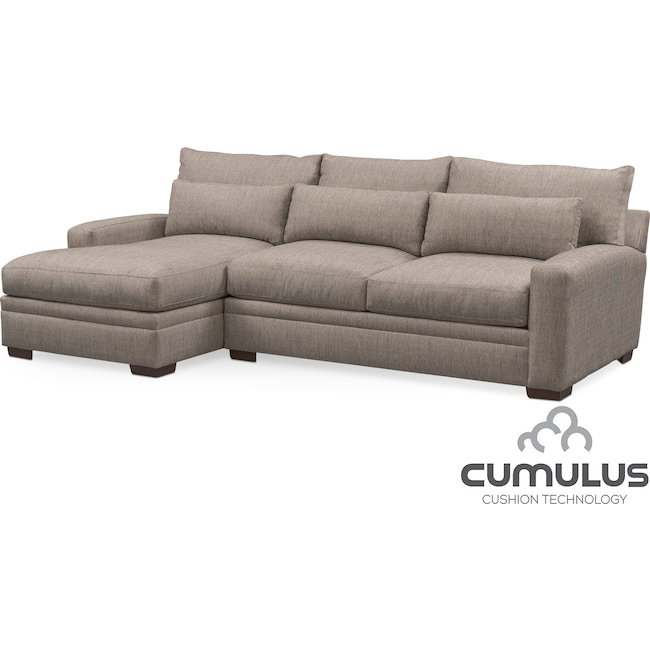 Living Room Furniture - Winston Cumulus 2-Piece Sofa with Left-Facing Chaise - Gray