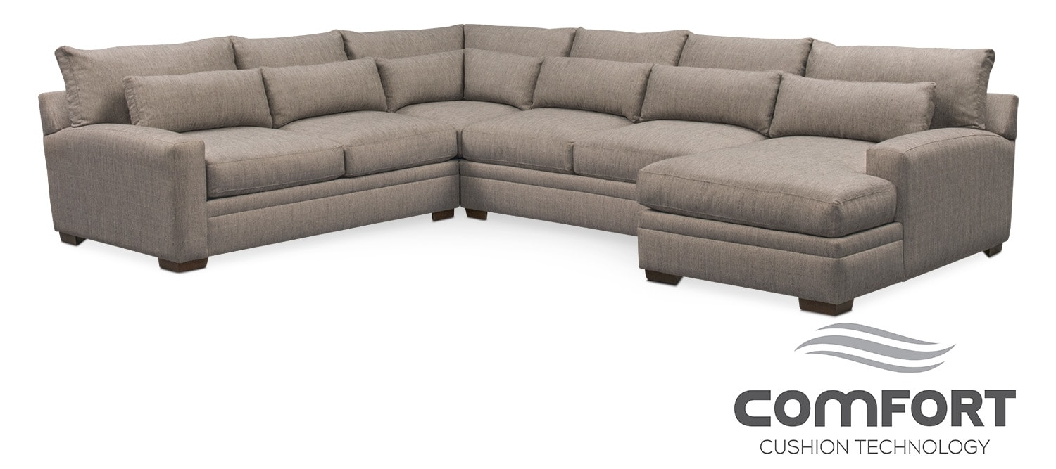 Living Room Furniture Winston Comfort 4 Piece Sectional With Right Facing Chaise