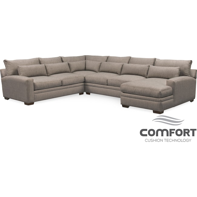 Living Room Furniture - Winston Comfort 4-Piece Sectional with Right-Facing Chaise - Gray