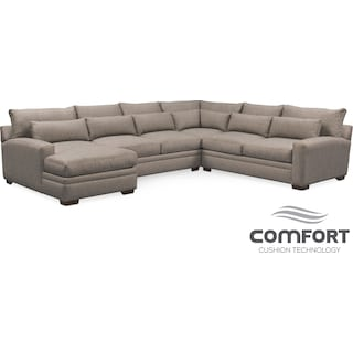Winston Comfort 4-Piece Sectional with Left-Facing Chaise - Gray