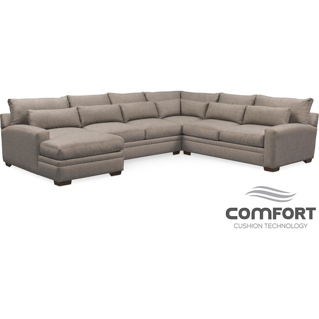 Living Room Furniture - Winston Comfort 4-Piece Sectional with Left-Facing Chaise - Gray