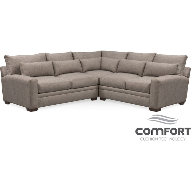 Living Room Furniture - Winston Comfort 3-Piece Sectional - Gray