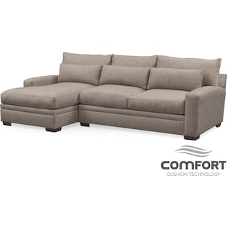 Winston Comfort 2-Piece Sofa with Left-Facing Chaise - Gray