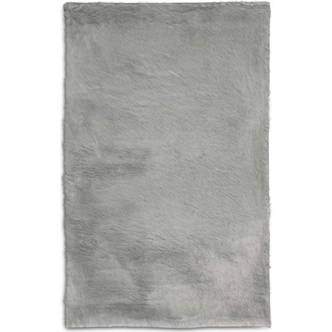 Rugs - Faux Fox Fur 8' x 10' Area Rug - Sterling