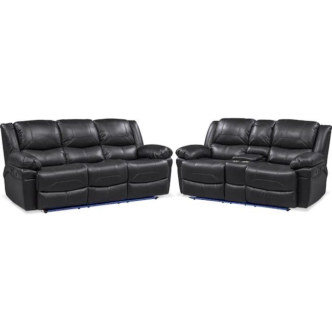 Living Room Furniture - Monza Manual Reclining Sofa and Loveseat Set