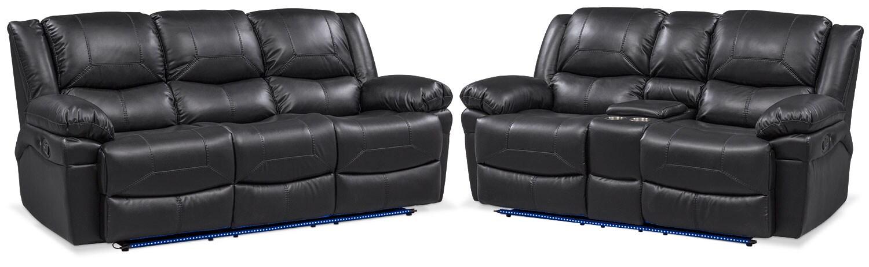 Living Room Furniture   Monza Manual Recliner Sofa And Loveseat Set   Black