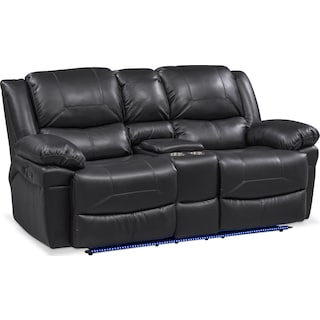 Monza Manual Reclining Loveseat with Console - Black