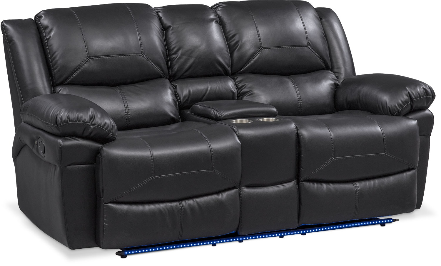 Monza Manual Reclining Loveseat With Console   Black ...