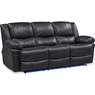 Monza Manual Reclining Sofa and Recliner Set - Black