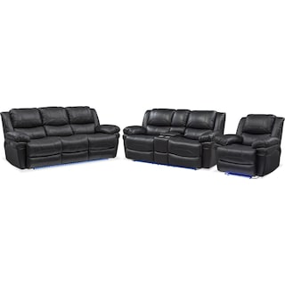 Monza Dual-Power Reclining Sofa, Loveseat and Recliner