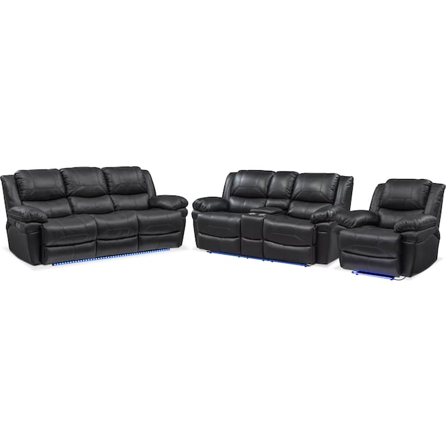 Living Room Furniture - Monza Dual Power Reclining Sofa, Reclining Loveseat and Recliner Set - Black