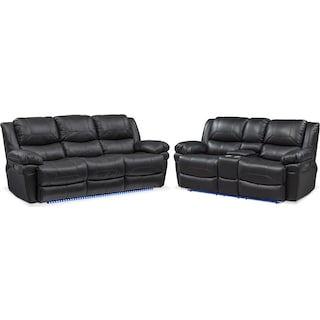 Monza Dual Power Reclining Sofa and Reclining Loveseat Set - Black