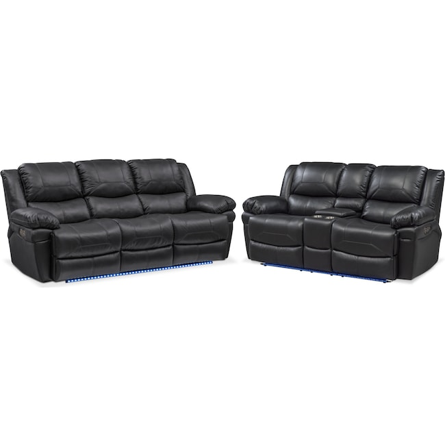Living Room Furniture - Monza Dual Power Reclining Sofa and Reclining Loveseat Set - Black