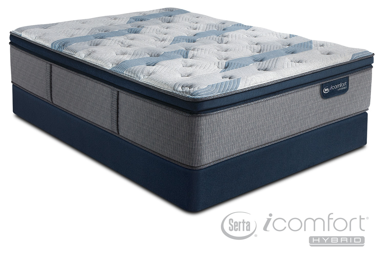 Blue Fusion 300 Plush Pillowtop Queen Mattress And Split Foundation Set Value City Furniture