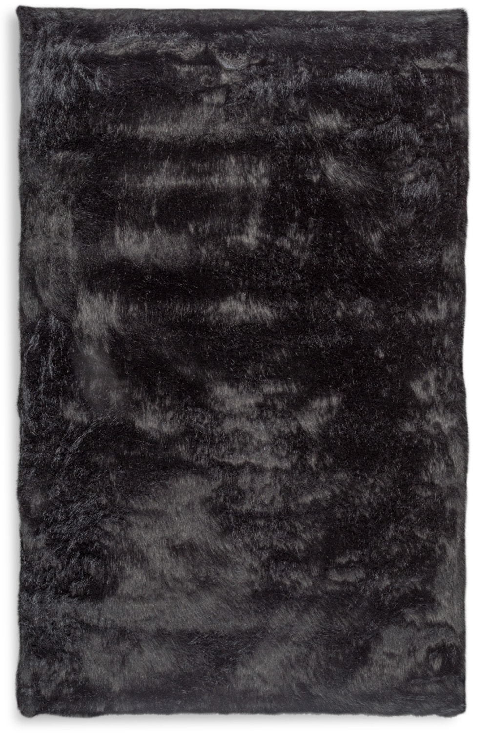 Rugs - Faux Fox Fur Area Rug - Black