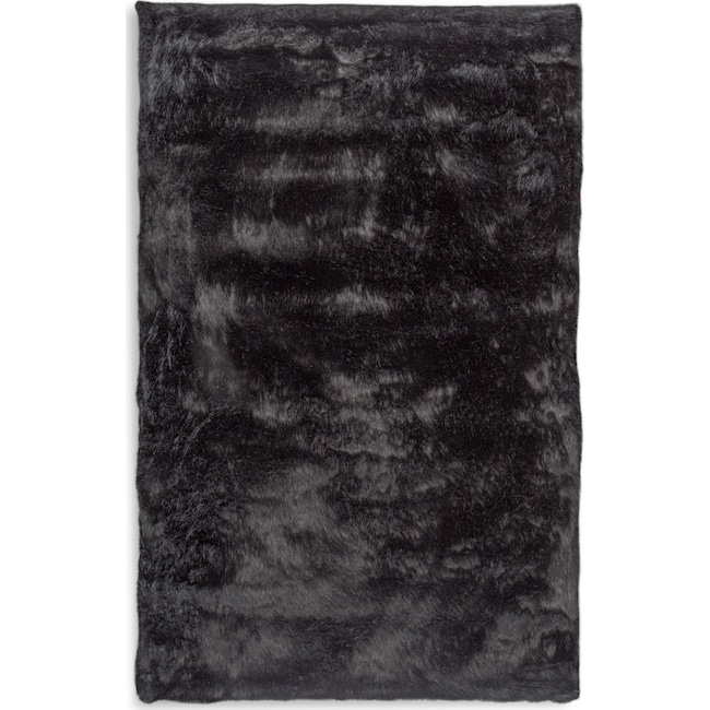 Faux Fox Fur 8 X 10 Area Rug Black Value City Furniture And