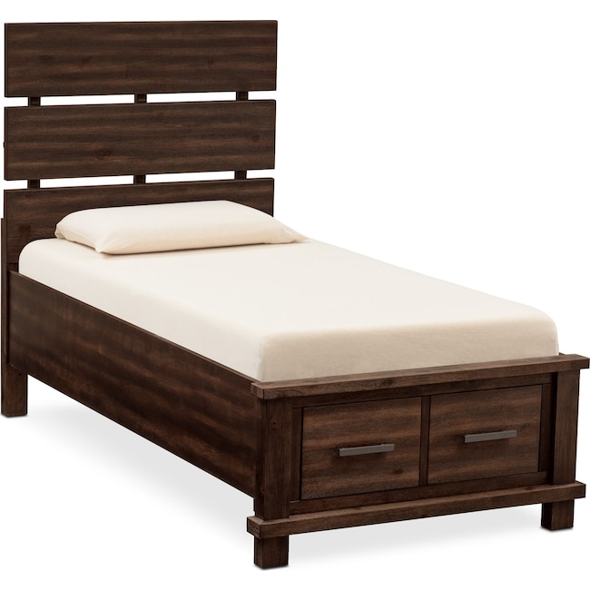 Bedroom Furniture - Tribeca Youth Twin Plank Bed with 1 Underbed Drawer - Tobacco