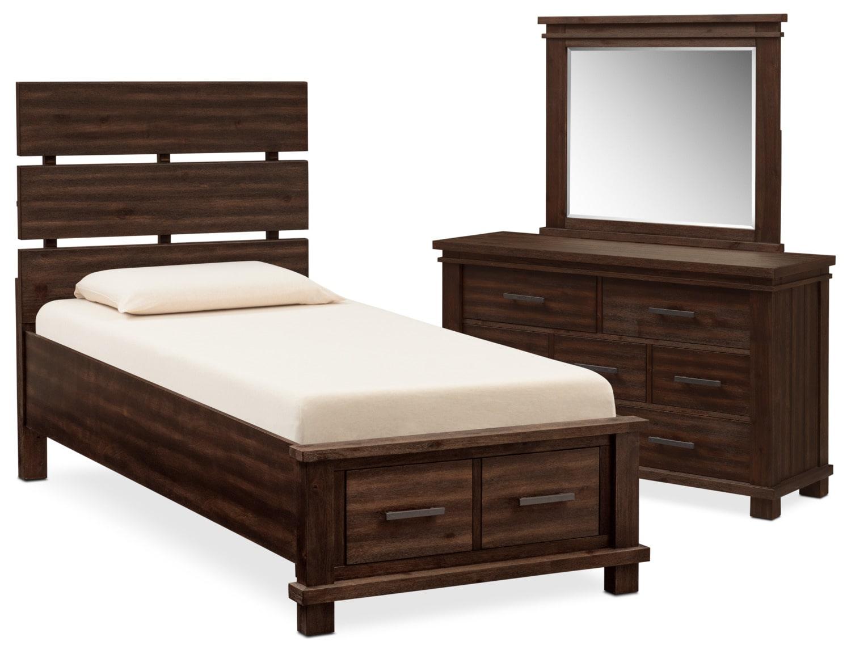 Tribeca 5 Piece Full Plank Bedroom Set With Storage
