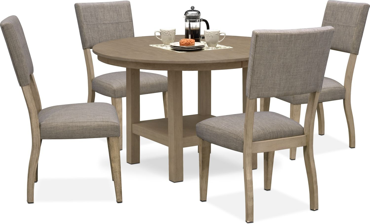 Dining Room Furniture - Tribeca Round Dining Table and 4 Upholstered Dining Chairs - Gray