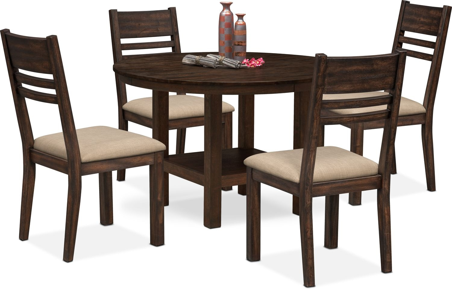 Tribeca Round Dining Table And 4 Side Chairs   Tobacco