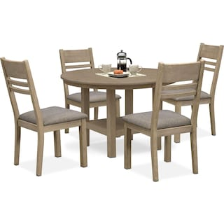 Tribeca Round Dining Table and 4 Side Chairs - Gray