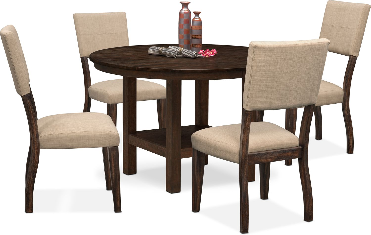 Circular Dining Table And Chairs: Tribeca Round Dining Table And 4 Upholstered Side Chairs