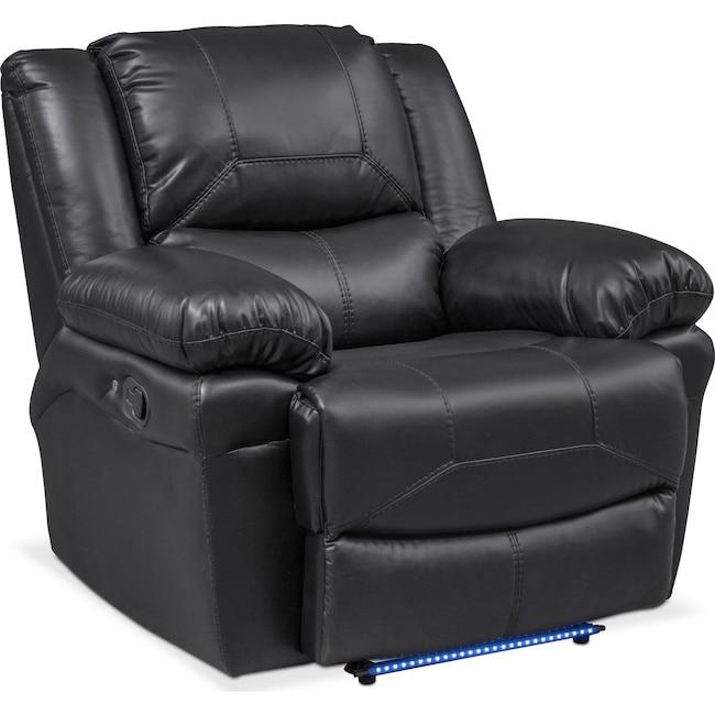 Living Room Furniture - Monza Manual Recliner - Black