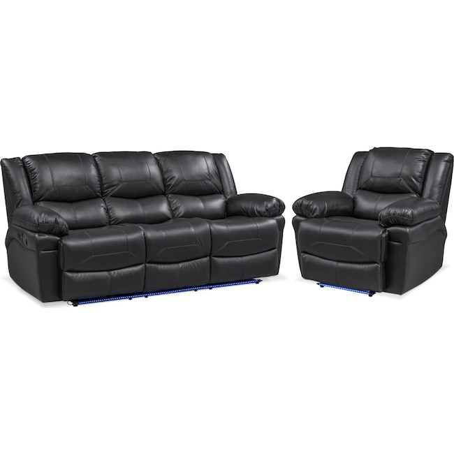Living Room Furniture - Monza Manual Reclining Sofa and Recliner Set - Black