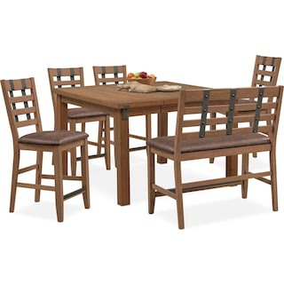 Hampton Counter-Height Dining Table, 4 Stools and Bench - Sandstone