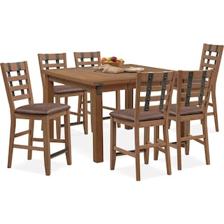 Hampton Counter-Height Dining Table and 6 Stools - Sandstone